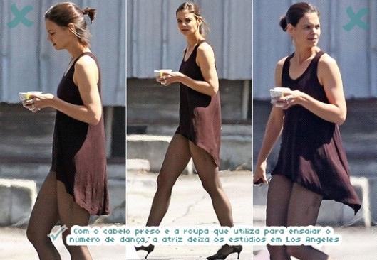 Com o cabelo preso e a roupa que utiliza para ensaiar o número de dança, a atriz deixa os estúdios em Los Angeles