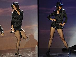 Katie Holmes durante a apresentação de dança