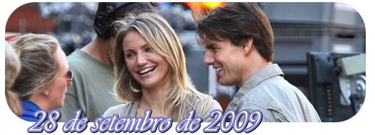 Tom Cruise e Cameron Diaz gravando a cena do filme