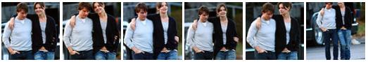 Katie Holmes & Tom Cruise no set de gravação do filme 'Knight and Day' depois de terem almoçar juntos. Katie trouxe o almoço de Tom B. Goode 's na Newbury Street - 1 de novembro de 2009